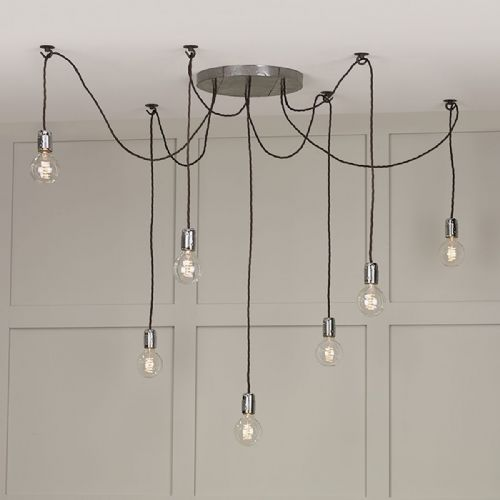 Huckleberry 7 Light Cluster Pendant Lead Grey HUC3439 (Hand made, 7-10 day Delivery)